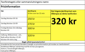 Taxi prices in Stockholm
