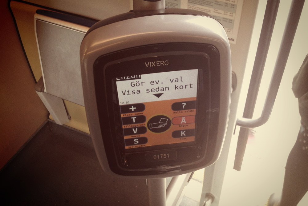 Card reader onboard Gothenburg's buses and trams