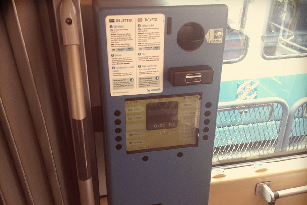 Ticket machine on tram in Gothenburg, Sweden