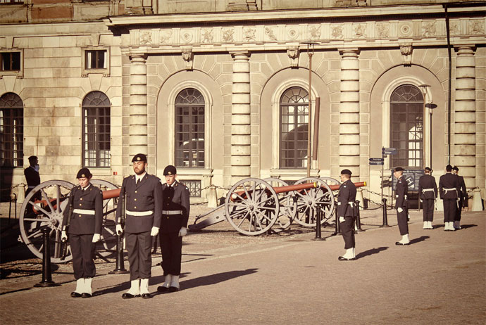 Changing of the guard at the royal palace in Stockholm