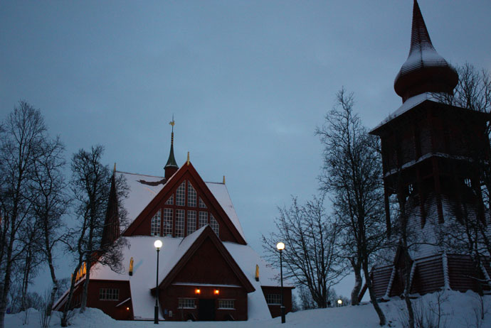Kiruna Church was built to look like a Sami tent