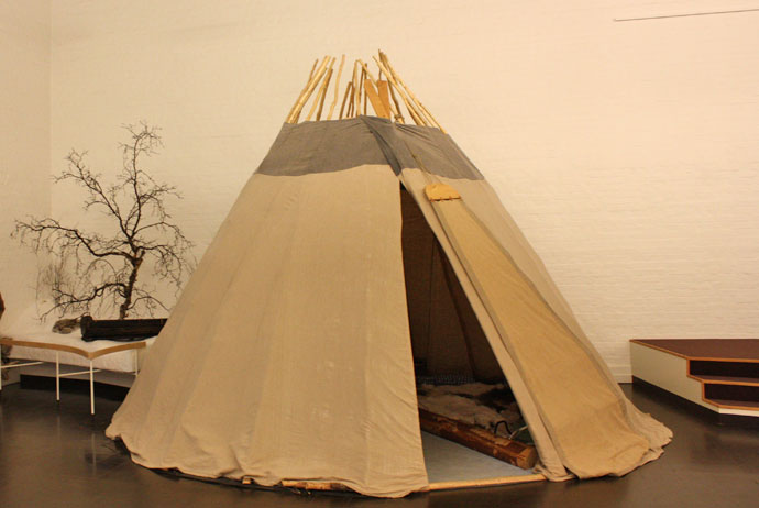 A traditional kåta at the Sami Museum in Jokkmokk