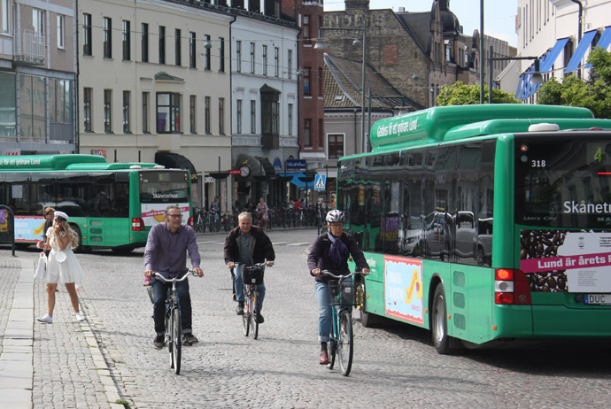 Bikes and buses in Lund, Sweden