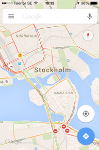 Google maps works very well in Sweden
