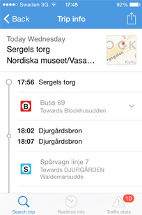A handy Stockholm public transport app