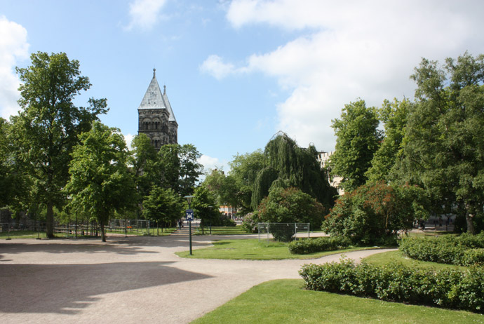 Lund Cathedral with gardens nearby