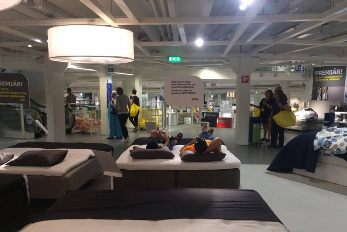 You can take a free bus to Ikea in Stockholm