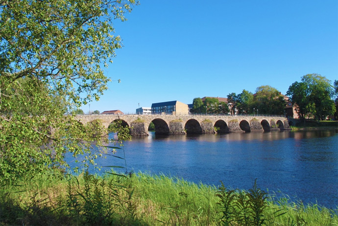 The old stone bridge in Karlstad, Sweden