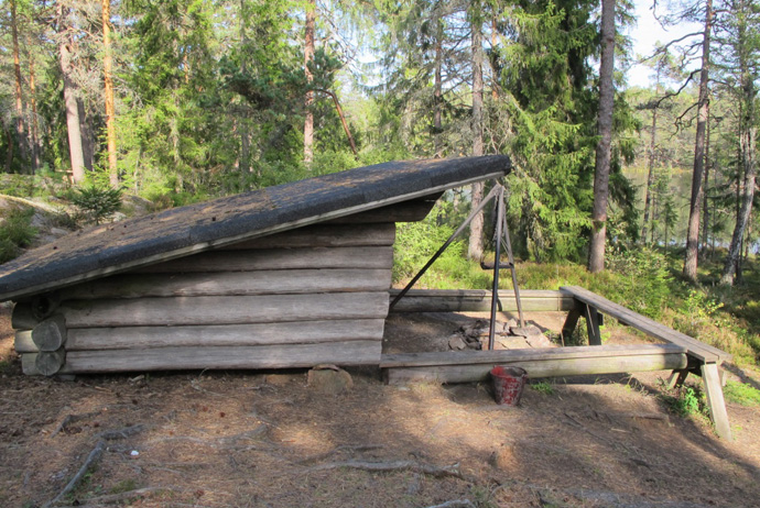 One of Glaskogen's simple wind shelters