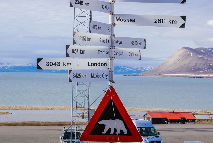 Sign at the airport in Svalbard