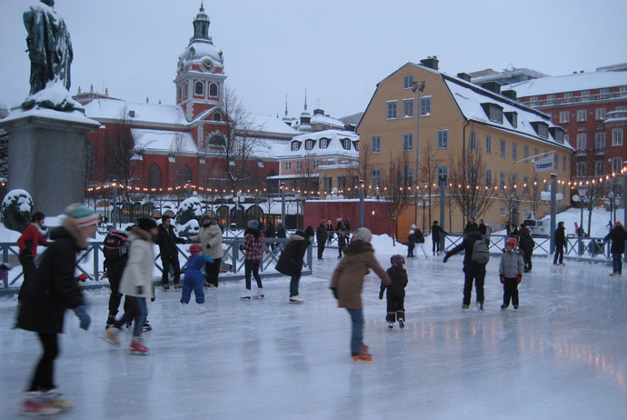 Kungsträdgården is a popular place to go ice skating in Stockholm
