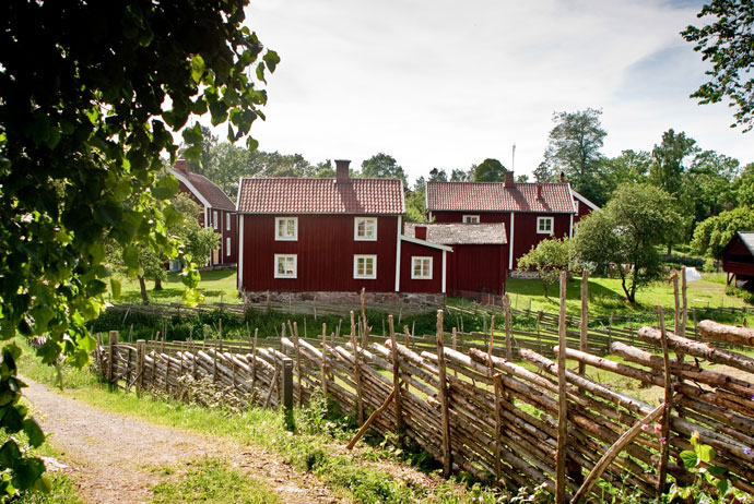 Red cottages in Småland, Sweden