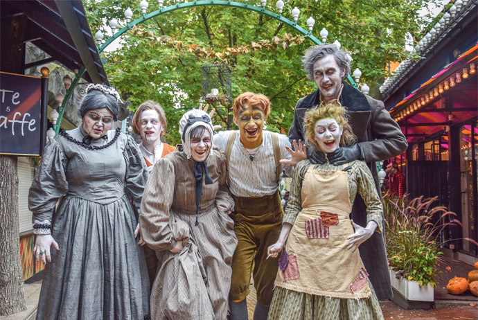 Celebrating Halloween at the Tivoli Gardens amusement park in Copenhagen