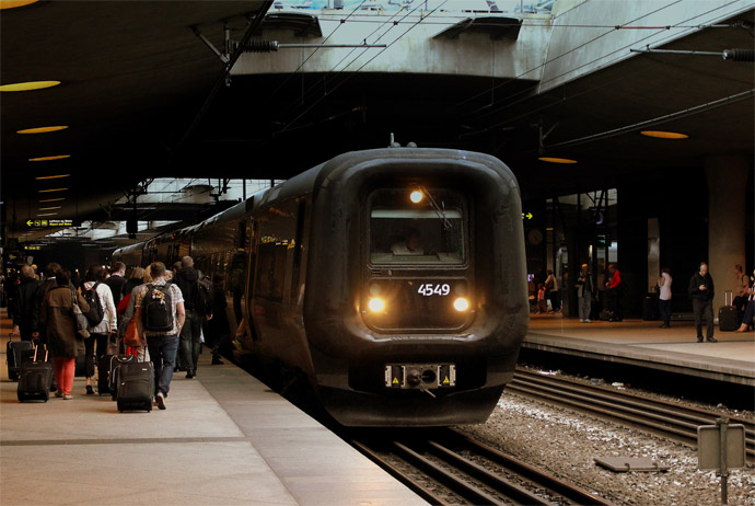 It's easy to get from Copenhagen airport to the city using the train