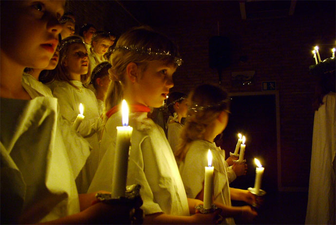 Lucia procession in the run up to Christmas in Denmark