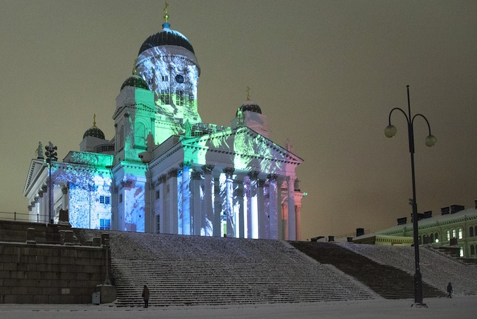 Helsinki Cathedral during the Lux light festival