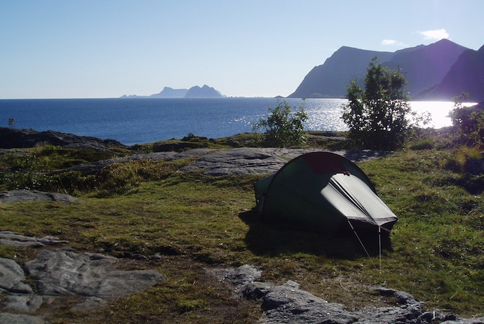 Camping by a fjord, Norway