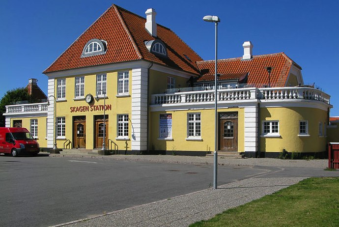 Skagen, known for its pretty yellow buildings