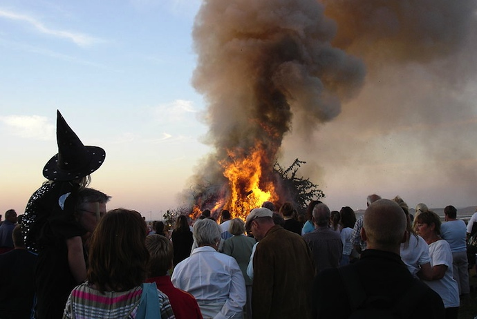 Witches and bonfires at the Sankthansaften celebrations, Denmark