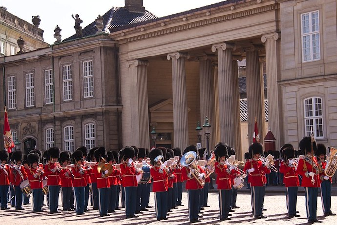 Changing the Guard at Amelienborg Palace, Copenhagen