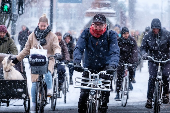 Danes cycle in all weathers, so it pays to look out for them.