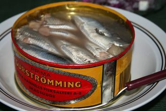 surströmming, salted herring from Sweden