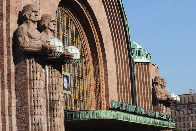 Helsinki's main train station is the start point for trips to the airport